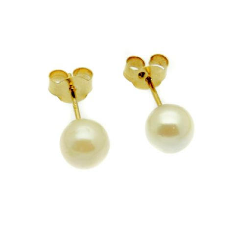 Pearl Earrings 9ct Gold Studs 5MM Round White Cultured Pearls